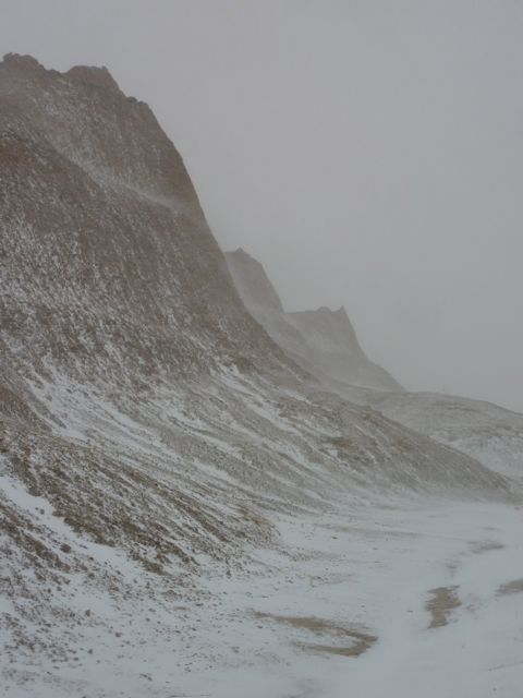 badlands formations during the first snowstorm of the year