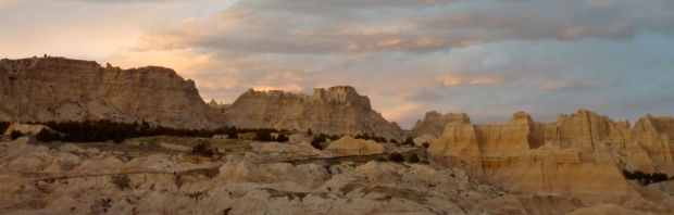 Cliff Shelf and the road at Cedar Pass, Badlands National Park