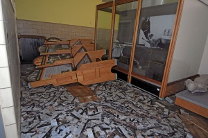 Flooding inflicted significant damage on the Health Exhibit space in the Ferry Building, displacing display cases and scattering brochures.  NPS Photo