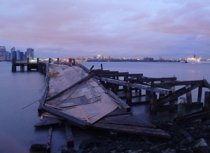 destroyed ferry dock
