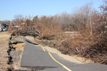 Damage to the multi-use path at Sandy Hook, New Jersey, part of the Gateway National Recreation Area.  NPS Photo/Warren Bielenberg