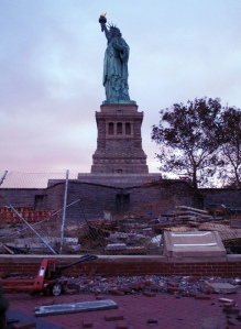 Damage to the brick walkways around Lady Liberty.  NPS Photo / Rannow.