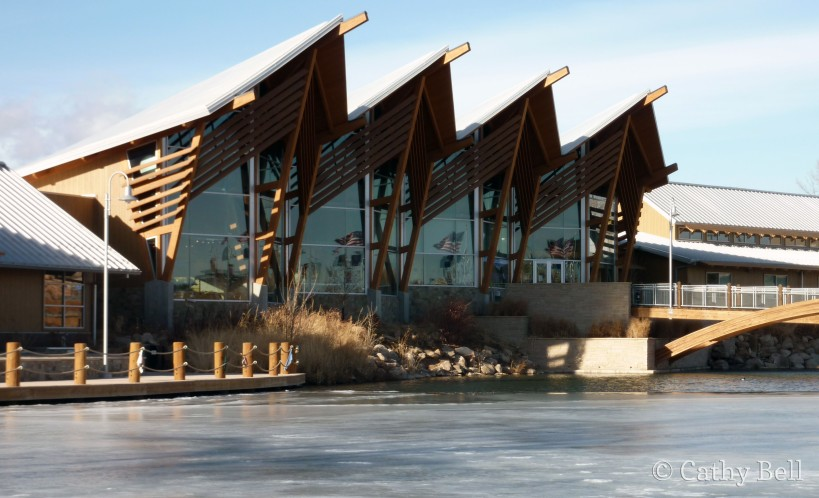 the building at South Dakota's Outdoor Campus - West, from across the pond