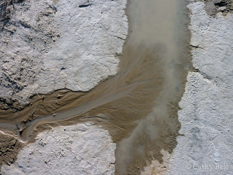 sediment-laden water forms a miniature delta in Badlands National Park