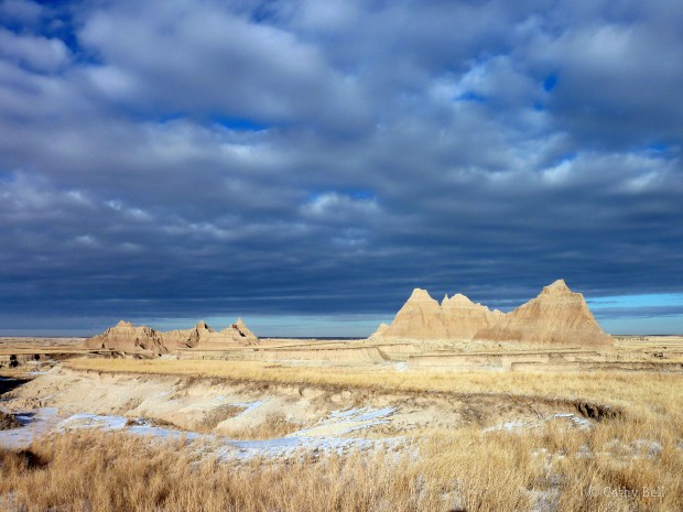 the Badlands prairie in winter