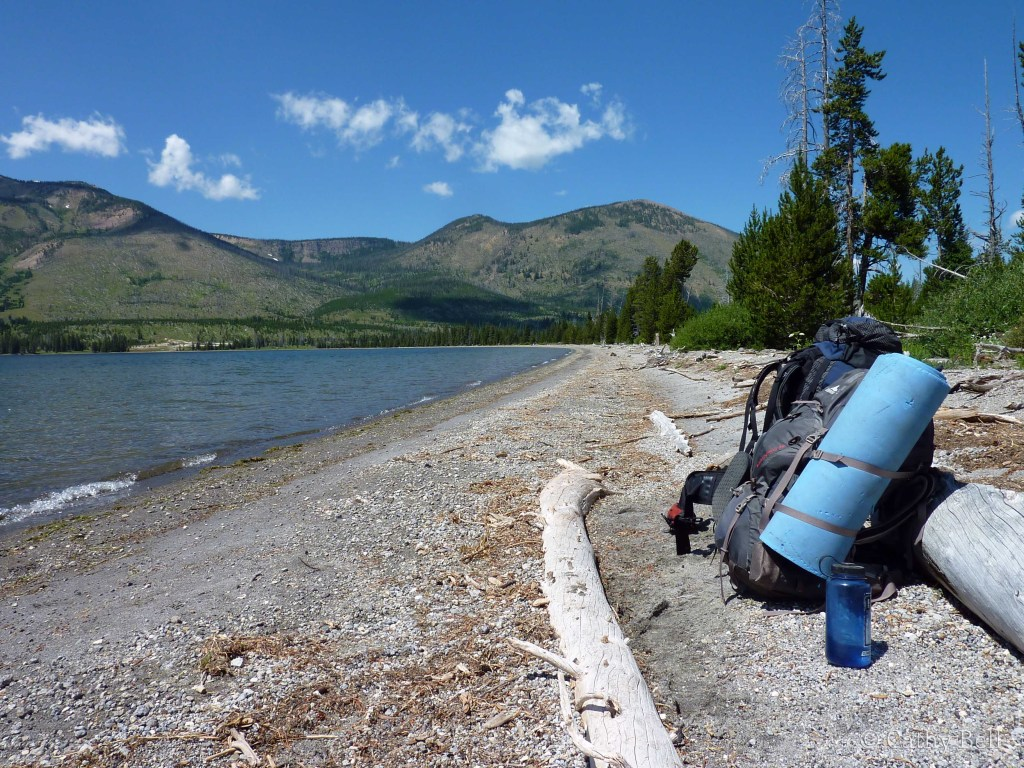 Home is where I carry it.  Here, my pack rests alongside my partner's on the shore of Heart Lake in Yellowstone National Park.