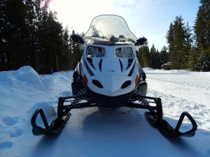 front view of snowmobile